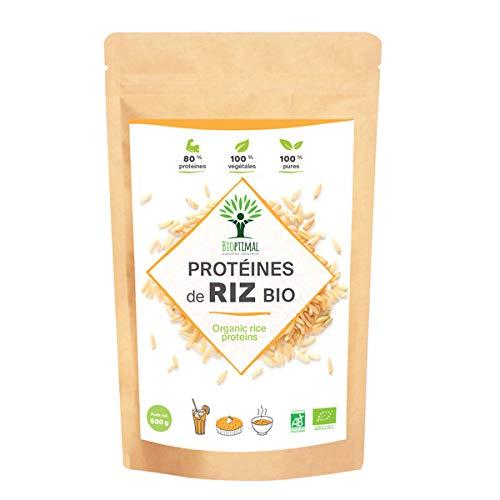 Protéine de Riz - Bioptimal - BCAA - BCAA Poudre - Protéine de Riz Bio - Poudre de Riz - Energie - Made in France - Certifié Ecocert - 80% de Protéine - 12% de BCAA (500 g)