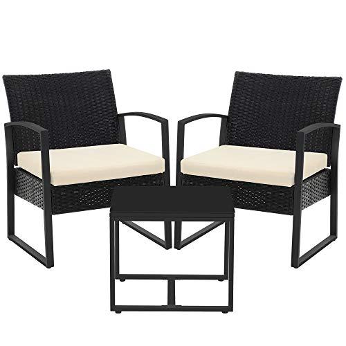 SONGMICS Gartenmöbel-Set, 3er Set, aus Polyrattan, für Outdoor, Terrasse, Balkon, Garten, einfache Montage, Beistelltisch und 2 Stühle, schwarz-beige GGF010M01