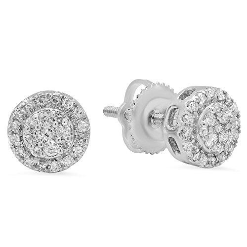 Dazzlingrock Collection 0.30 Carat (ctw) 10K Round White Diamond Ladies Circle Cluster Stud Earrings 1/3 CT, White Gold (0.30 Ct Pear Diamond)