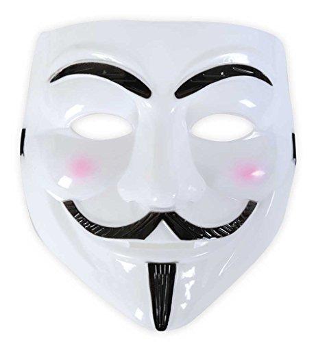 KarnevalsTeufel Damen/Herren Vendetta Maske in Weiß-Schwarz Guy Fawkes Anonymous