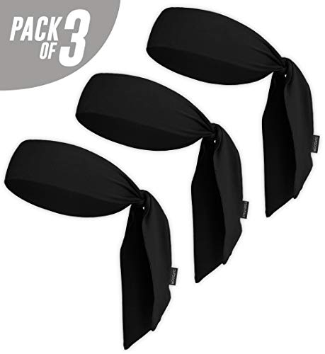 VORCOOL 3Pcs Dri-Fit Head Ties Outdoor Sports Headbands Sweatbands para Correr Basketball Tennis Yogo Workout Rojo Azul y Negro