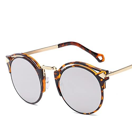QWKLNRA Gafas De Sol para Hombre Montura De Leopardo Lente Gris Gafas De Sol Deportivas Polarizadas contra-UV para Mujeres Hombres Semi Gafas De Sol Gafas Modernas Portátiles Vintage Montura Redond