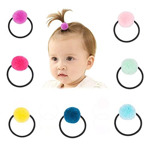 10 bolas de pompón elásticas para el pelo, lindas bolas de pompón, cinta para el pelo, accesorios para el cabello para bebés y niñas (color al azar)