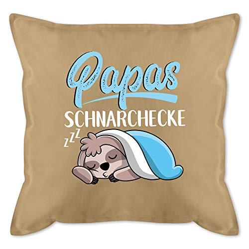 Vatertagsgeschenk Kissen - Papas Schnarchecke mit Faultier - weiß - Unisize - Beige - Papas Kissen - GURLI Kissen mit Füllung - Kissen 50x50 cm und Dekokissen mit Füllung