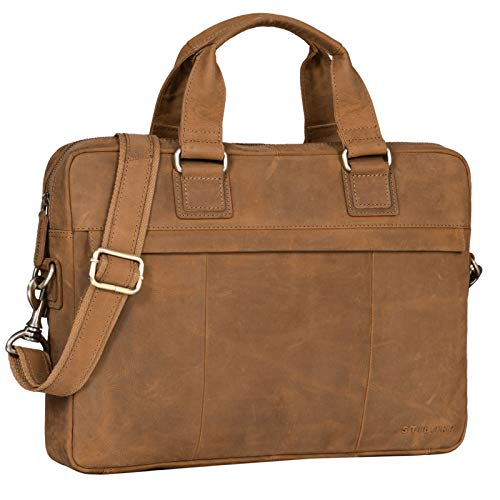 STILORD 'Andrew' Vintage Business Leather Bag Classic Briefcase for Men Women 13,3 Inch Laptop Bag in Genuine Leather Trolley Attachable, Colour:tan - Dark Brown