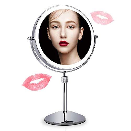 Llpeng Miroir de Maquillage Maquillage Miroir Miroir Lighted Vanity, autoportant Miroir cosmétique Double Face x1 / x10 Grossissement avec Touch Dimmable et réglable en Hauteur, à Pile