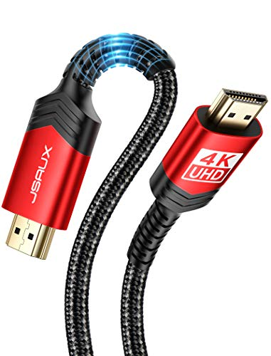 4K 60Hz HDMI Cable [6.6ft/2M], JSAUX HDMI 2.0 to HDMI High Speed 18Gbps 28AWG HDR 3D 2160p 1080p Braided Cord Compatible with Ethernet Audio Return(ARC), PS4/5, Fire TV, UHD TV, PC (Red)