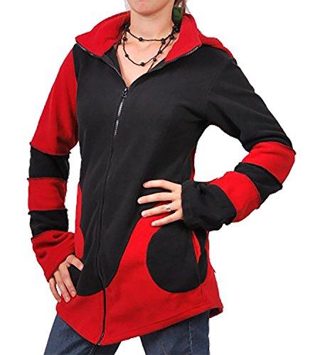 KUNST UND MAGIE Fleece Jacke mit Zipfelkapuze Goa PSY Hippie Fraggle Schwarz/Rot, Size/Größe:36
