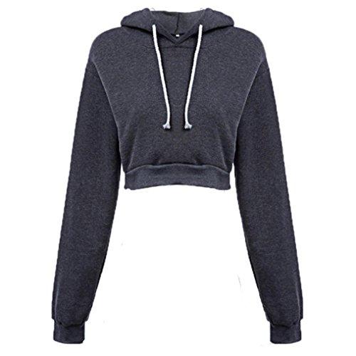 Amlaiworld Sweatshirts Mode Kurz Pulli Langarmshirts Damen bauchfrei komfortabel locker Sweatshirt weich Winter Herbst Kapuzenpullover für M?dchen (S, Dunkelgrau)