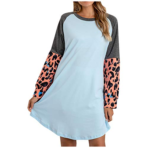 OutTop Womens Nighgowns Dress Fashion Color Block Crewneck Long Sleeve Soft Sleepshirts Loungewear Pajamas Sleepwear (Blue, XXXXXL)
