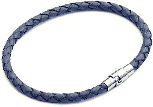 Dünnes blaues Lederarmband, sicherer Bajonettverschluss mit extra Magnet für Männer oder Frauen - 4mm geflochten Unisex 20cm, von Tribal Steel