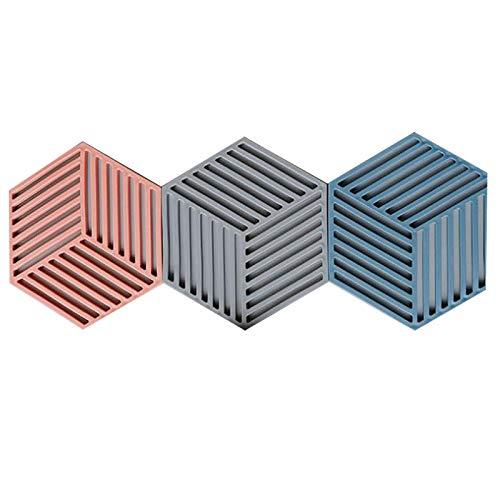 SODIAL 3 Teiliges Silikon Geschirr Isolier Matte Untersetzer Tasse Hexagon Matte Polster W?Rme Isoliertes SchüSsel Tisch Set