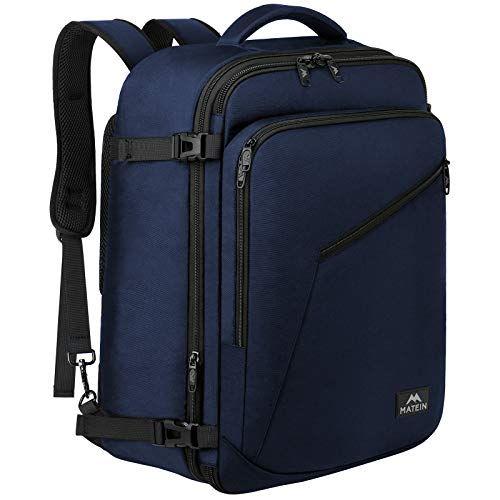 Weekender Backpack, Durable Large Capacity Travelling Suitcase Backpack with Strap for Clothes, Expandable Flight Approved Business Carry on Backpack for International Travel, Blue