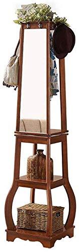 FF Coat rack Swivel massief houten kapstok Swivel kapstok voor slaapkamer Multifunctionele met spiegel hanger (Kleur: A)