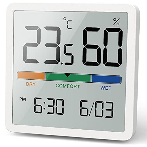 NOKLEAD Termómetro interior del higrómetro, termómetro digital de escritorio con monitor de temperatura y humedad, termómetro de habitación de calibre humedad preciso