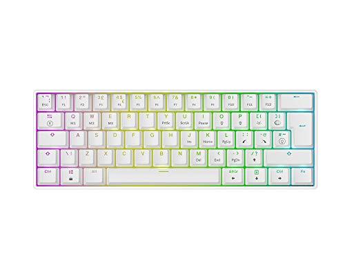 Mizar MZ60 Luna Hot-Swap Mechanische Gaming-Tastatur - 62 Tasten Mehrfarbige RGB-LED-Hintergr&beleuchtung für PC-/Mac-Spieler - ISO Großbritannien Layout (Weiß, Gateron Optische Silver)