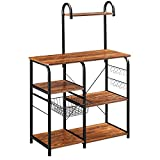 Mr IRONSTONE Vintage Kitchen Baker's Rack Utility Storage Shelf 35.5' Microwave Stand 3-Tier+4-Tier Shelf for Spice Rack Organizer Workstation with 10 Hooks