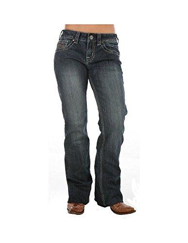 Cowgirl Tuff Co Damen Jeans Dont Fence Me in Dark Stonewash - Blau - 33 Short