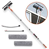 Squeegee Window Cleaner,Baban 2 in 1 Window Cleaning Tool with Elbow and Straight Extension Pole, 61' Telescopic Window Washing Equipment with Bendable Head for Car Indoor Outdoor High Windows (2 Pad)