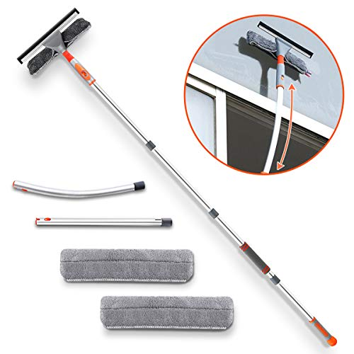 """Squeegee Window Cleaner,Baban 2 in 1 Window Cleaning Tool with Elbow and Straight Extension Pole, 61"""" Telescopic Window Washing Equipment with Bendable Head for Car Indoor Outdoor High Windows (2 Pad)"""