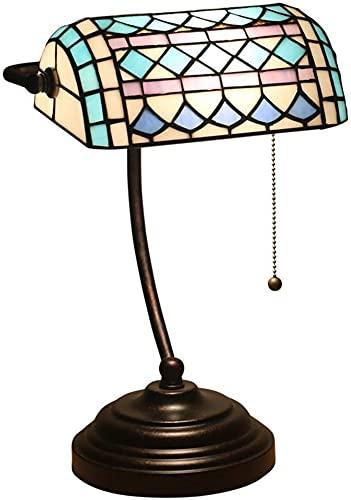 HKAFD Tiffany Lámpara de Mesa Retro Pastoral Creativo Dormitorio Noche Sala de Estar Restaurante Bar Cafe Mesa de Vidrio Lámpara de Mesa
