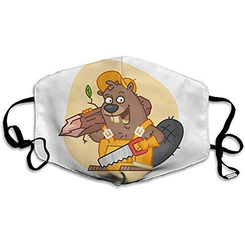 FANCYDAY Mond Maskers, Multifunctionele Maskers-Dier Bever Houdt Saw Tree Builder Icature Toon Character-01