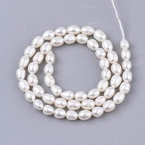 1 hebra perlas naturales de perlas de agua dulce cultivadas perlas de piedras preciosas sueltas de 6 ~ 7.5 mm para pendientes de fabricación de joyas alrededor de 52 ~ 54 piezas/hebra