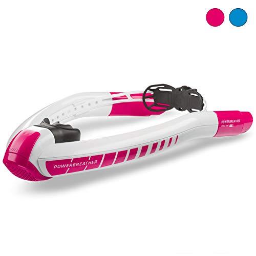 POWERBREATHER Sport Schnorchel - 100% frische Luft und 100% trocken - Schnorchel mit patentierter Ventiltechnik by AMEO Sports - Farbvariante (White/Electric Pink (Rosa))