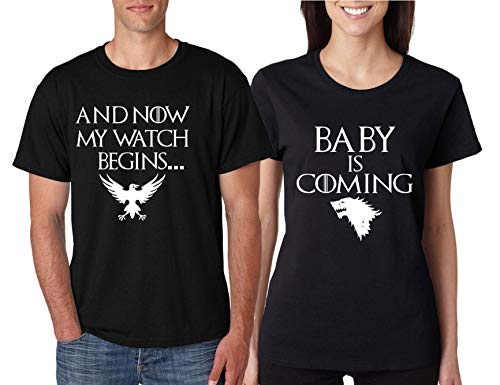 ALLNTRENDS Couples T Shirts Baby is Coming My Watch Begins Fans Pregnancy Tshirt (Womens XL Mens L, Black)