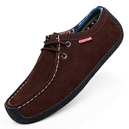 CAGAYA Herren Wildleder Mokassins Klassische Slip on Flach Bootsschuhe Fahrschuhe Halbschuhe Slippers Loafers Schuhe 39-51 EU (51 EU, Braun)