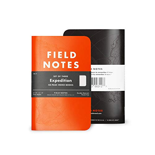 Field Notes: Expedition 3-Pack Waterproof Notebook with Dot-Graph Paper - 3.5' x 5.5'