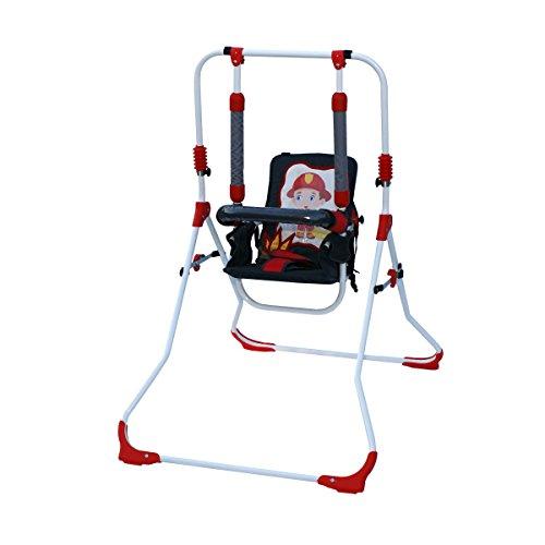 Clamaro 2 in 1 Babyschaukel 'SWING' Indoor Baby Schaukel und Hochstuhl in einem, Sicherheitsgurt mit Bügel, gepolsterter Sitz, kompakt zusammenklappbar - Motiv: Feuerwehr