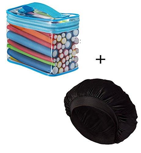 (2 In 1) 42 Packs Hair Rollers Flexible Curling Rods Sleep Styler + Satin Silk Salon Bonnet Hat Sleeping Cap