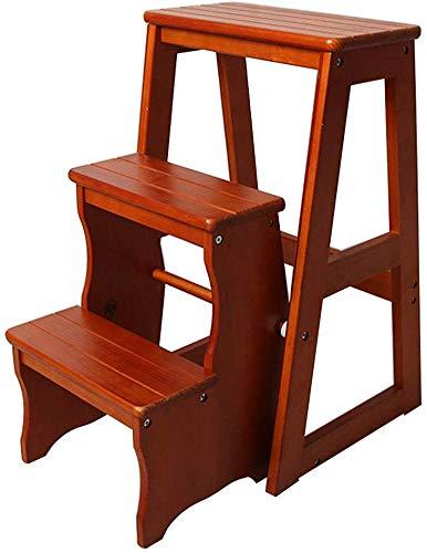 QTQZDD trapladder massief hout klapstoel 3 treden trapstoel draagbare huishoudladder licht tuingereedschap Max belasting 150 kg (3 kleuren) 2 2