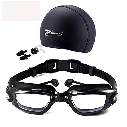 AUGU Gafas de natación Que conectan Tapones para los oídos Sin Fugas Anti-Niebla Gafas de natación para Interiores y Exteriores Lentes Transparentes espejadas para Mujeres Hombres Jóvenes