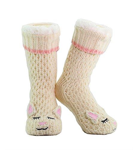 CityComfort 3D Slipper Socks Women Girls Boys Premium Soft Home Socks Size 4 5 6 7 8 - Novelty Piggy Rabbit White Sheep Fluffy and Furry Slipper Sock - Beautiful Present for her - Non Slip (Oatmeal)