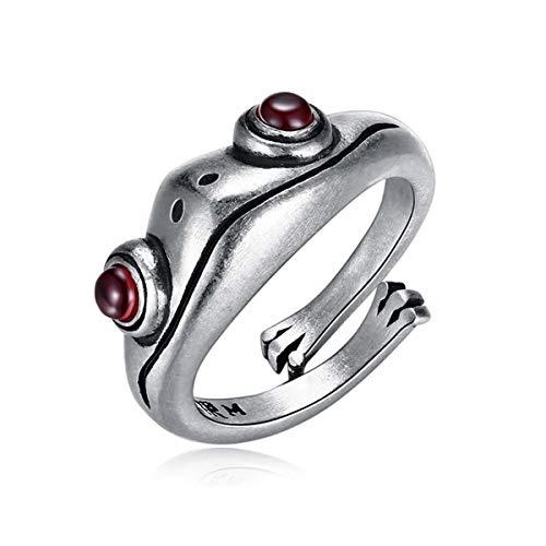 Anillo de rana, anillos de plata de ley 925, regalos de joyería de fiesta de anillo de dedo de animal lindo vintage, anillo creativo de personalidad retro para mujeres y hombres