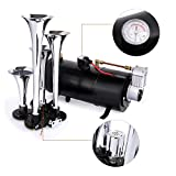 12V 150DB Car Air Horn Kit, 4 Trumpet Train Vehicle Air Horn with 120PSI Air Compressor for All Kinds of Vehicle, Truck, Car or SUV