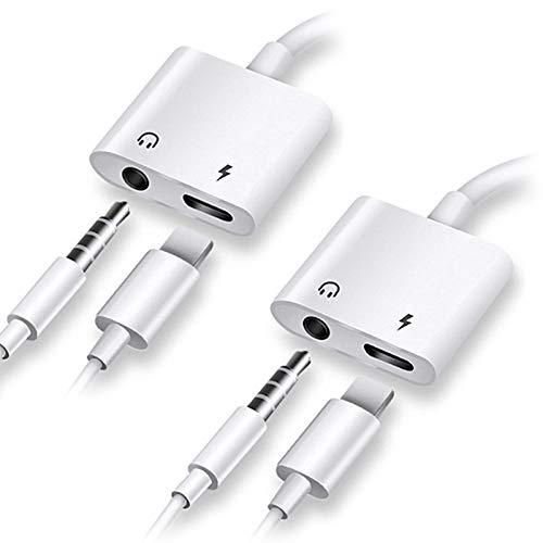 Jsdoin - Adaptador de auriculares para iPhone 7/7 Plus/8/8 Plus/X/XR/XS/11/11 Pro Music Dongle adaptador de audio para auriculares compatible con todos los iOS, color blanco