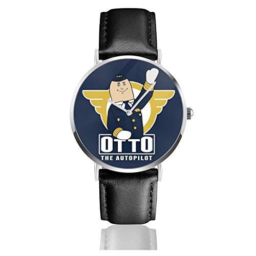 Unisex Business Casual Flugzeug Otto Uhren Quarz Leder Uhr mit schwarzem Lederband für Herren Damen Young Collection Geschenk