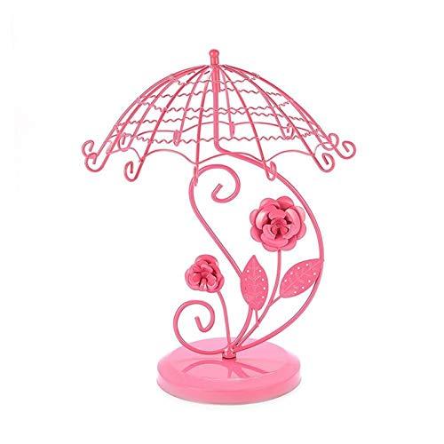 Coffret à Bijoux Vintage Style Parapluie Rose Boucle d'oreille Tree Bijoux Affichage Métal Bijoux Support Stand, Ornement Stockage for chambre / maison / magasin Boîte à Bijoux pour Femme