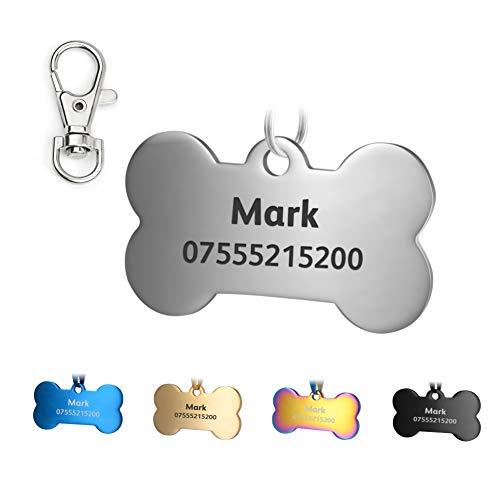 KSZ Etiquetas de identificación para Mascotas de Acero Inoxidable, Etiquetas Personalizadas para Perros y Gatos. Grabado Frontal y Trasero. Múltiples Colores (Plata, Hueso)