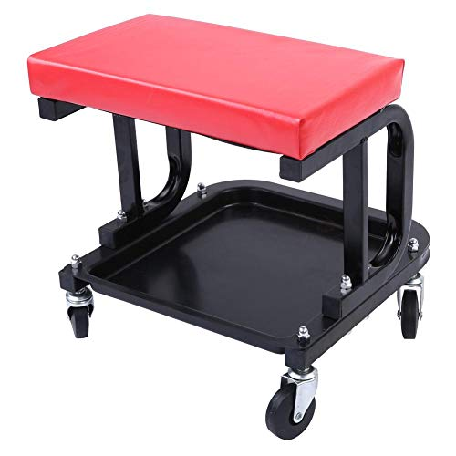 Kruk met wielen voor het werk, mechanische stoel werkplaats stoel stoel mechanische kruk met opslag plaat, 220 lbs voor auto barbecue reizen vissen