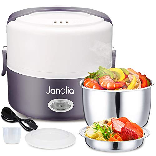 Janolia Calefactor eléctrico de alimentos, caja de almuerzo eléctrica portátil, capacidad de 1,3 l/40 onzas con cuenco de acero inoxidable, placa de polipropileno de grado...