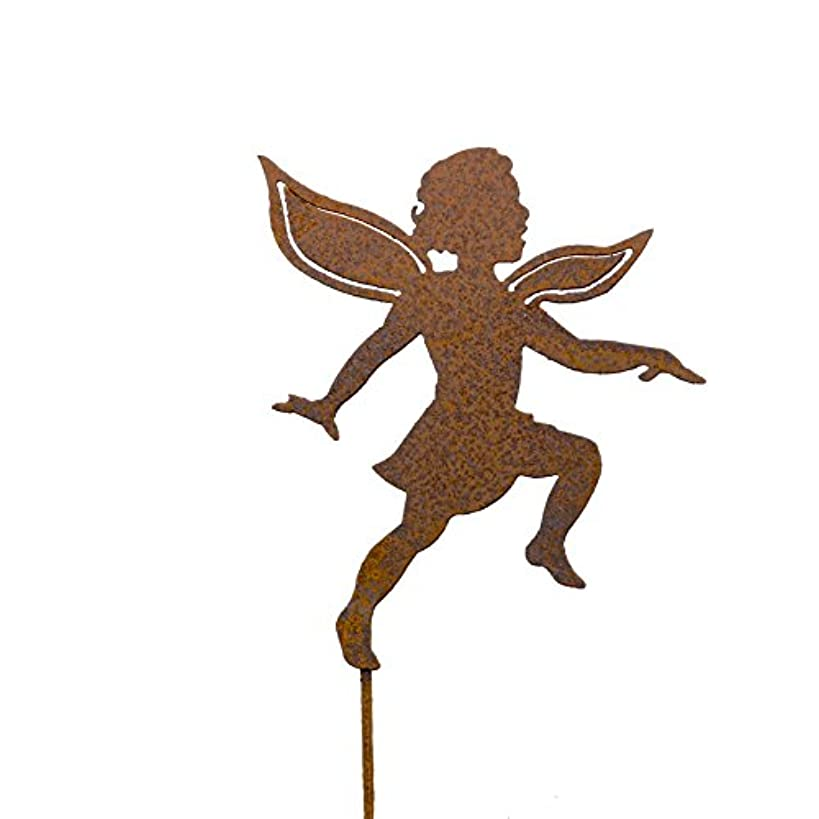 Elegant Garden Design Dancing Girl Fairy Stake, Steel Silhouette with a Rusty Patina