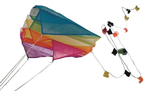 Paul Günther 1172 - Mini Parafoil pink, farbenprächtiger Drachen für die Hosentasche, mit lichtechtem Segel, kann bequem in der Tasche verstaut werden, ca. 60 x 51 cm