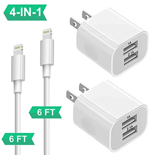 Charger for iPhone 8/7/6/Plus/Xs/XS/Max/XR/X/11, 4Pack Chargers for iPhone with Wall Plug Dual USB Charger Block Cube Adapter for iPad Pro/Air2/Mini3/Mini4 2X Wall Charger+2X MFI Certified Cable