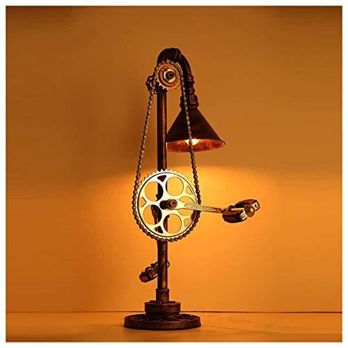 GKJ Lámpara de Mesa de Hierro Creativa, lámpara de Mesa LED de Metal con tubería de Agua Industrial Retro Antigua, para cafetería, Bar, Restaurante, Cocina, Color óxido