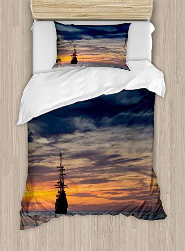 332 Juego de ropa de cama con diseño de barco pirata, juego de cama de 2 piezas con 1 funda de almohada, tamaño individual, color azul salmón