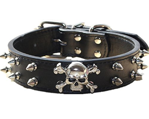 haoyueer Collar de perro de cuero con pinchos – 2 filas de remaches de bala tachonado de cuero sintético – Cool Skull Pet Accesorios para perros medianos y grandes … (L, negro)